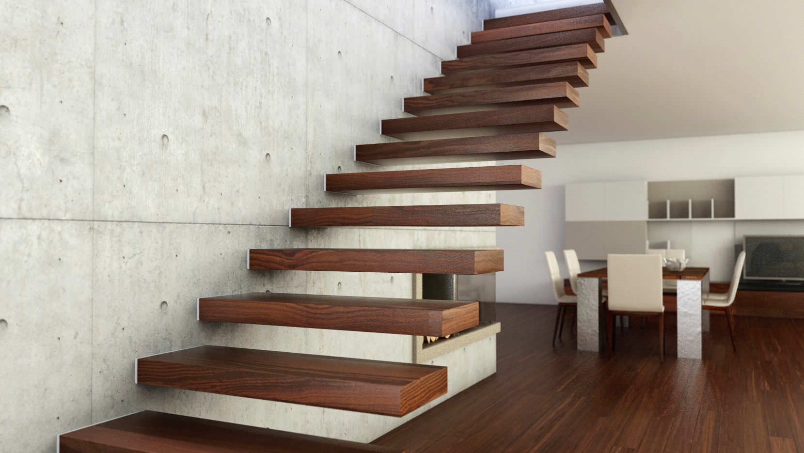 scala autoportante in legno