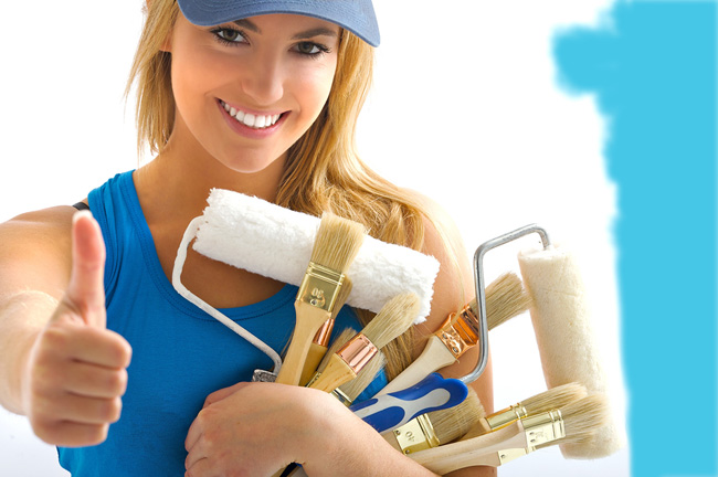 strumenti per dipingere una parete